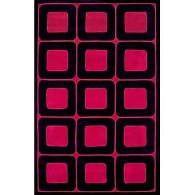 American Home Rug Co. Modern Living Deco Blocks Black/Berry Red Rug; 8' x 11'