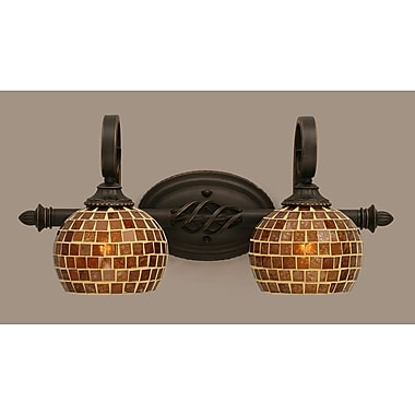 Toltec Lighting Elegante 2-Light Vanity Light; Mosaic