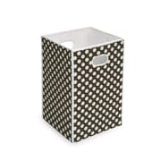 Badger Basket Folding Hamper & Storage Bin; Brown with White Polka Dots