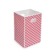 Badger Basket Folding Hamper/Storage Bin; Pink with White Polka Dots