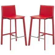 Safavieh Journey 30'' Bar Stool with Cushion (Set of 2); Red
