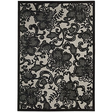 Nourison Graphic Illusions Pewter Floral Area Rug; 3'6'' x 5'6''