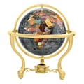 Alexander Kalifano 13'' Commander Black Opalite Globe with Three Leg Stand in Gold