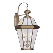 Livex Lighting Georgetown 3 Light Wall Lantern; Polished Brass
