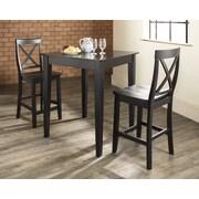 Crosley 3 Piece Pub Table Set; Black