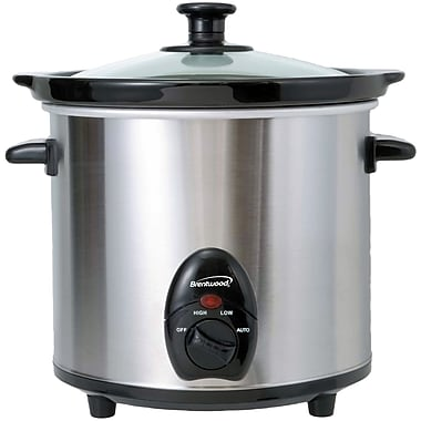 Brentwood 3-qt. Slow Cooker; Stainless Steel