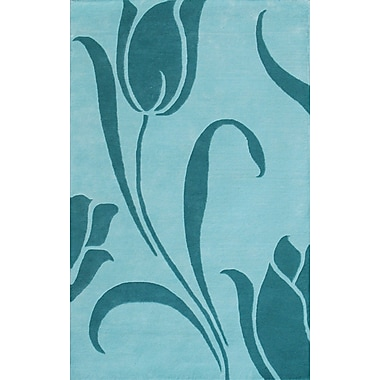 Noble House Floral Light Blue Area Rug; 5' x 8'