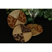 Pacific Table Linens Illusions Wine Glass Coaster (Set of 2); Chocoloate / Light Gold