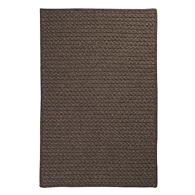 Colonial Mills Natural Wool Houndstooth Cocoa Braided Chocolate Area Rug; 7' x 9'