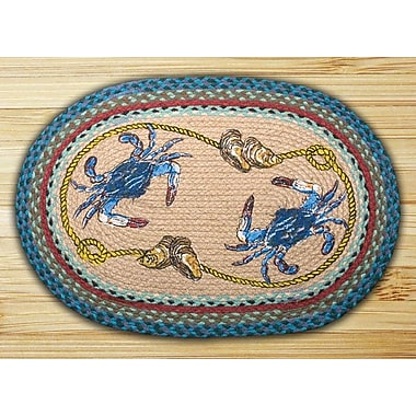 EarthRugs Blue Crab Printed Area Rug; Oval 1'8'' x 2'6''