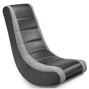 X Rocker Rocker Gaming Chair in Black & Silver; Black with Silver Stripe