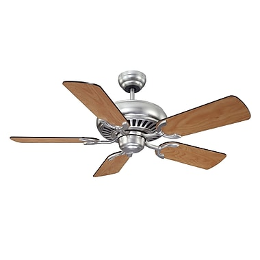 Wildon Home   42'' Pine Harbor 5 Blade Ceiling Fan; Satin Nickel with Chestnut / Maple Blades
