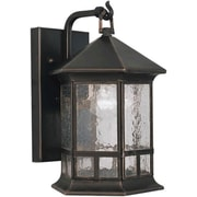 Forte Lighting 1 Light Outdoor Wall Lantern; 17.5'' H x 12.5'' W / Rustic Sienna / Umber Linen