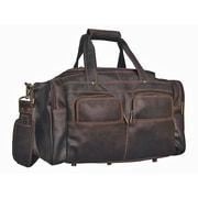 David King Distressed 19'' Leather Multi-Pocket Duffel
