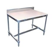 PVIFS Aluminum I Frame Prep Table with Back Splash and Poly Top; 34'' H x 48'' W x 30'' D