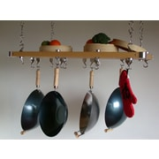 Taylor & Ng Track Rack Rectangular Ceiling Pot Rack; Natural Wood