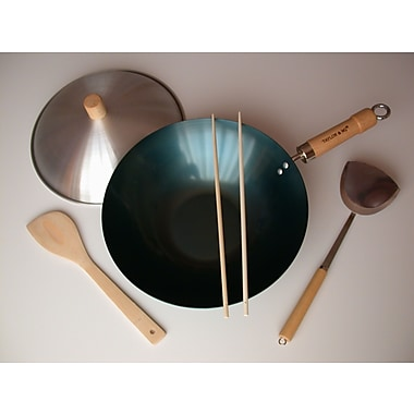 Taylor & Ng 5 Piece 12'' Preseasoned Flat Bottom Wok Set