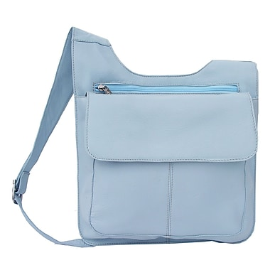 Piel Fashion Avenue Slim Line Mail Bag; Pastel Blue - CLOSEOUT!