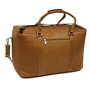 Piel 20'' Leather European Carry-On Duffel; Saddle