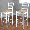 TMS 30'' Ladder Bar Stool (Set of 2); White
