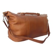 Piel 20'' Large Leather Carry-On Duffel; Saddle
