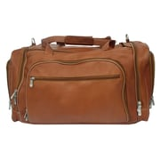 Piel 20'' Leather Multi-Compartment Carry-On Duffel; Saddle