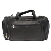 Piel 20'' Leather Multi-Compartment Carry-On Duffel; Black