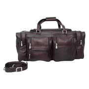 Piel Traveler 24'' Leather Travel Duffel with Pockets; Chocolate