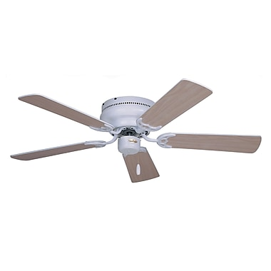 Emerson Fans 42'' Contemporary Snugger 5 Blade Ceiling Fan; Appliance White with Bleached Oak Blades
