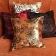 Violet Linen Silky Bloom Design Cushion Cover; Beige