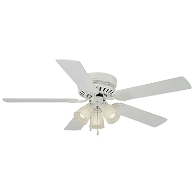 Design House 52'' Mill Bridge 5 Blade Ceiling Fan; White with Bleached Oak Blade