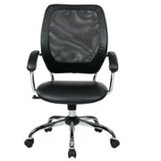 Office Star Designer Screen Back Managers Chair with Faux Leather Seat and Chrome Accents; Black