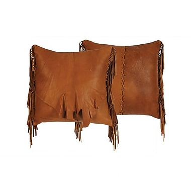 Wooded River Flap and Fringe Leather Throw Pillow