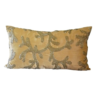 Debage Inc. Beaded Coral Silk Lumbar Pillow