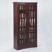 Leslie Dame Glass Door Tall Multimedia Cabinet; Dark Cherry