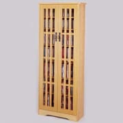 Leslie Dame Glass Door Tall Multimedia Storage Cabinet; Oak