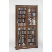 Leslie Dame Glass Door Multimedia Cabinet; Walnut