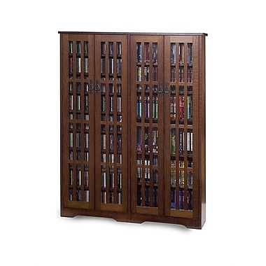 Leslie Dame Glass Door Double Multimedia Cabinet; Walnut