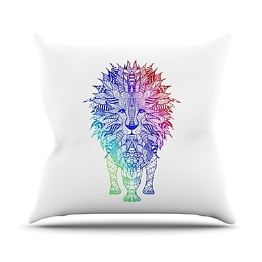 KESS InHouse Rainbow Lion Throw Pillow; 18'' H x 18'' W