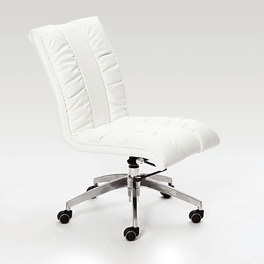 Matrix Comphy Mid-Back Leather Office Chair with Swivel; White