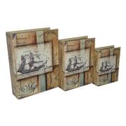 Cheungs 3 Piece Vinyl Book Box with Coastal Ship Print Set