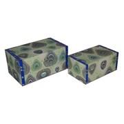 Cheungs 2 Piece Flat Top Keepsake Box with Peacock Design Set