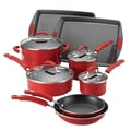 Rachael Ray Porcelain II Nonstick 12-Piece Cookware Set; Red Gradient