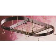Rogar Gourmet Oval Designer Hanging Pot Rack w/ Grid; Hammered Steel/Chrome