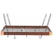 Rogar Gourmet Custom Contrasting Hanging Pot Rack; Hammered Copper/Black