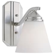 Designers Fountain Piazza 1-Light Wall Sconce; Satin Platinum with Frosted White Shade