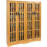 Leslie Dame Glass Door Double Multimedia Cabinet; Oak