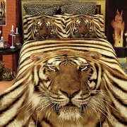 Dolce Mela Siberian Tiger 6 Piece Reversible Duvet Cover Set; King