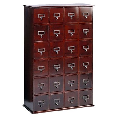 Leslie Dame Library Style 24 Drawer Multimedia Cabinet; Cherry
