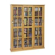 Leslie Dame Sliding Glass Door Multimedia Cabinet; Oak